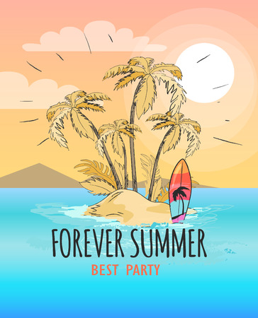 Forever summer poster with text. Vector illustration of small island with palm trees and surfboard against background of mountains and light pink sky Illustration