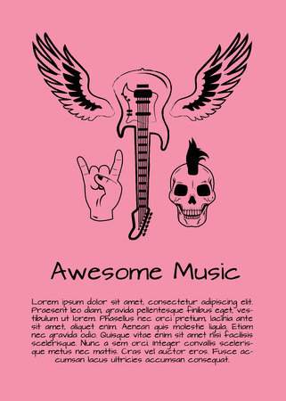 Awesome Music Rock Poster Vector Illustration
