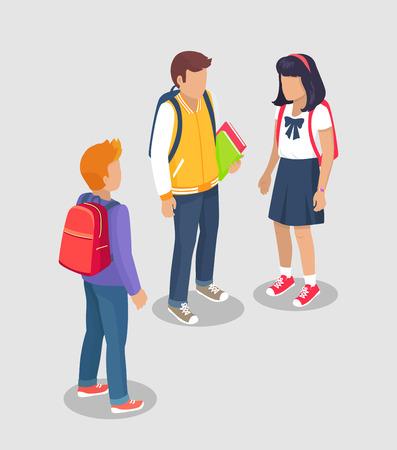 Teenage Students Talking Isolated Illustration Ilustração