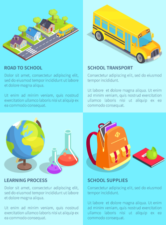 Set of school-themed posters with text. Isolated vector illustration of asphalt road along with houses, yellow bus and various objects and supplies