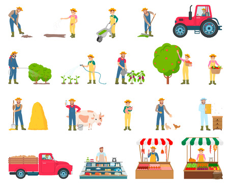 Farmer activity collection, watering bushes, plants harvesting, feeding chickens and selling product on market, set isolated on vector illustration