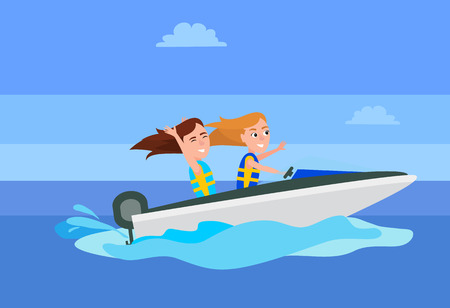 Boating Activity in Summer Vector Illustration Stock Photo