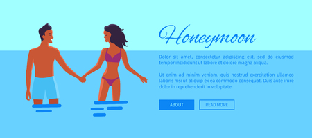 Honeymoon Web Banner with Lovers, Vector