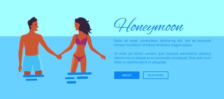Honeymoon Web Banner with Lovers, Vector 写真素材 - 106315910