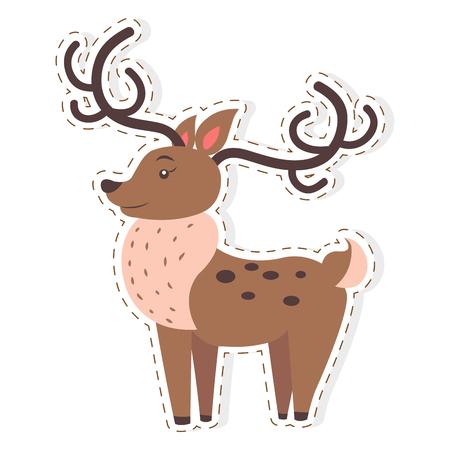 Cute Reindeer Cartoon Flat Vector Sticker or Icon