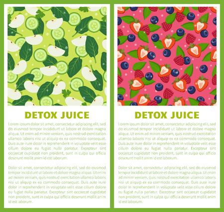 Detox Juice Poster Ingredients of Refreshing Drink Zdjęcie Seryjne