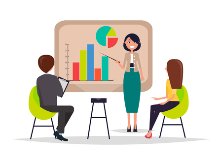 Business meeting presentation and information given on laptop chart pie diagram, people listening attentively to listener, seminar vector illustration