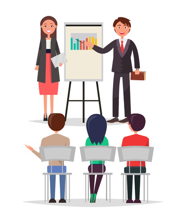 Business meeting people set sitting in chairs and listening attentively, man and woman presenting information data whiteboard vector illustration