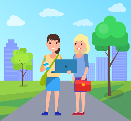 Two pretty students girls in city park on background of skyscrapers. Stylish young woman with laptop and handbag vector cartoon characters isolated