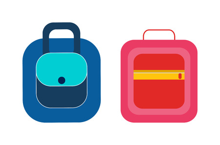 Female handbags, practical briefcases, compact backpack, bright lunchbox isolated vector illustrations. Convenient bags and packages for students set.