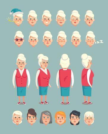 Insieme del costruttore della nonna delle teste delle nonne, emozioni del personaggio dei cartoni animati animati vettore emoji della nonna isolato su grigio, lato anteriore posteriore del corpo