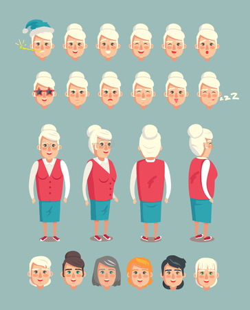 Grandmother constructor set of grannies heads, animated cartoon character emotions vector emoji of grandma isolated on grey, body side front back
