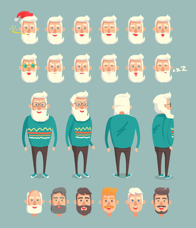 Grandpa wearing green knitted sweater set of emoticons with different facial expression, sleepy and xmax celebrating grandparent vector illustration