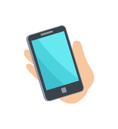 Mobile phone smartphone in persons hand, telephone with button and blue screen, telecommunication vector illustration isolated on white background Çizim