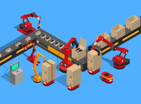 Línea de producción abstracta aislada sobre fondo azul, control remoto y máquina de transporte, cajas de cartón para el embalaje de teléfonos móviles