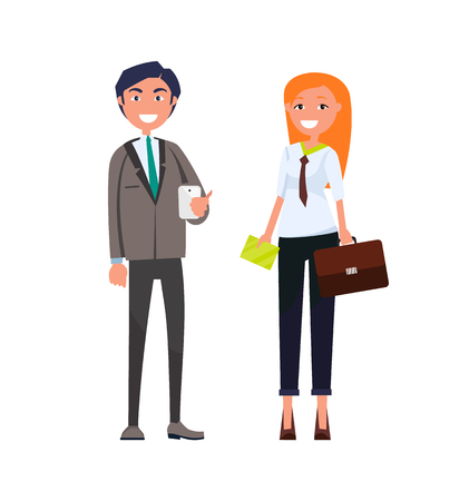 Smiling man in suit with smartphone in hands and woman with envelop and beiefcase vector illustration cartoon characters business people