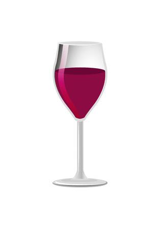 Glass of elite red wine classical alcohol drink in elegant glassware vector illustration isolated on white, winery refreshing merlot burgundy beverage