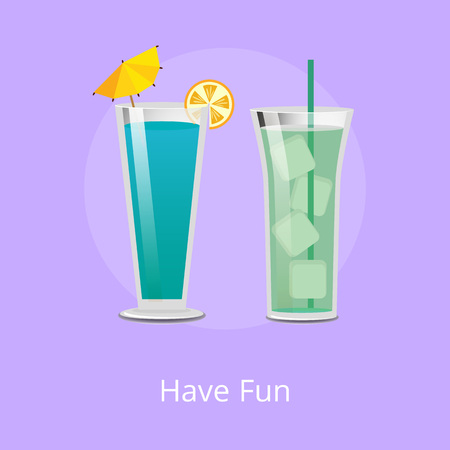 Have fun green cocktail with ice cubes and blue drink with mint syrup vector illustration refreshing beverages with straw isolated, summertime flat style