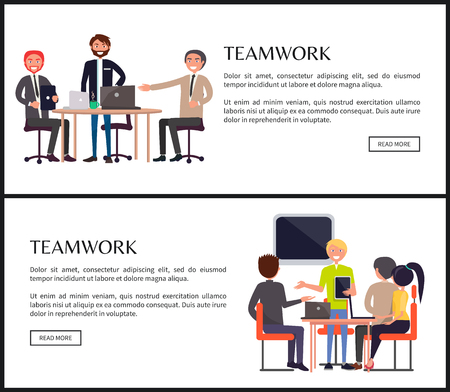 Teamwork web page templates with entrepreneurs. Office workers gather around table to solve business problems on online banners vector illustrations.