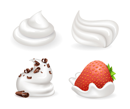 Freshly whipped cream set of icons, strawberry in mousse and chocolate crumbles placed on fluffy foam as decoration isolated on vector illustration Illustration