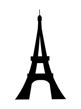 Eiffel tower in France black silhouette, landmark of Paris, tall monument constructed for universal exhibition vector illustration isolated on white