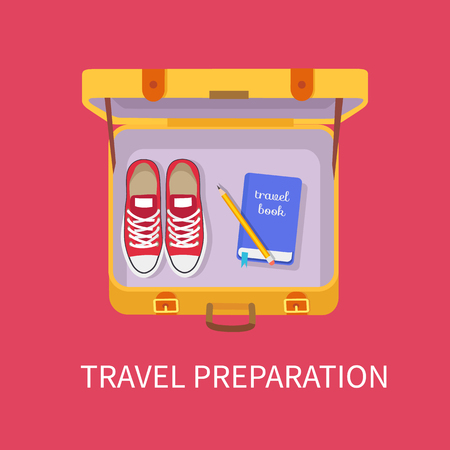 Travel preparation poster with luggage containing shoes sneakers book and pen for writing, baggage personal belongings isolated on vector illustration