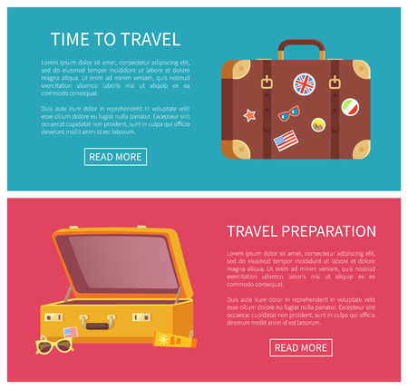 Time to travel web page set containing text sample, headline on internet site, luggage decorated with stickers of flags, places vector illustration Çizim