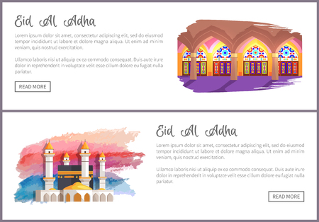 Eid Al Adha Muslim Holiday Online Commercial Set Illustration