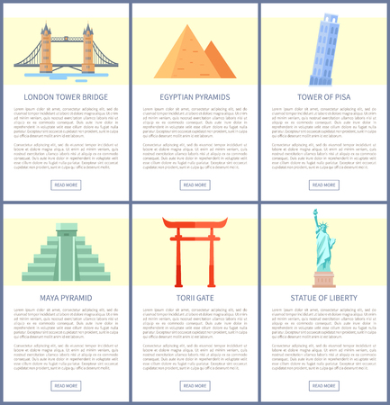 Famous world attractions and architecture on posters set. Sights from all over globe. Must see places for travellers banners vector illustrations. 矢量图像