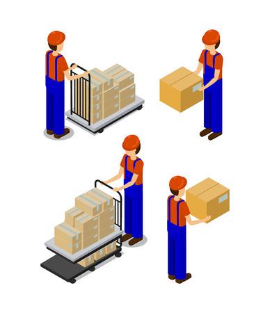 Fábrica y trabajadores con cajas, artículos de producción de transporte por manos de empleados o carro de metal, hombres con uniformes aislados en ilustración vectorial