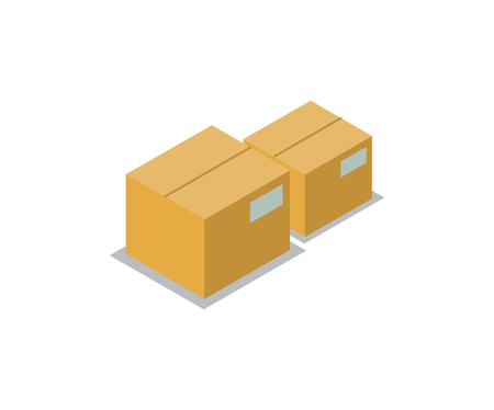 Boxes collection production icons, items made of carton paper having label with info on side, compact containers, isolated on vector illustration Stock Illustratie