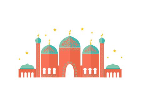 Modello colorato del bellissimo tempio, carta vettoriale Vettoriali