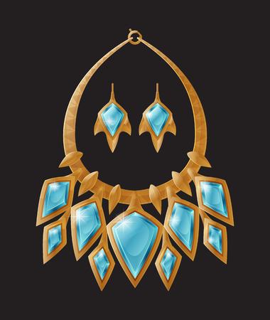Ketting en oorbellen set, accessoires stukken versierd met blauwe edelsteen, gemaakt van goud, sieraden collectie geïsoleerd op vectorillustratie Vector Illustratie