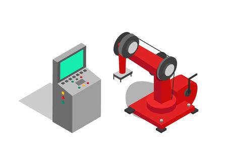 Mando a distancia y cartel de vector de máquina roja, ilustración de robot tecnológico que se utiliza para transferir varios elementos de producción aislados en imagen blanca