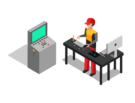 Factory and operator at work, working man controlling production process, monitoring computer screen, vector illustration isolated on white background Illustration