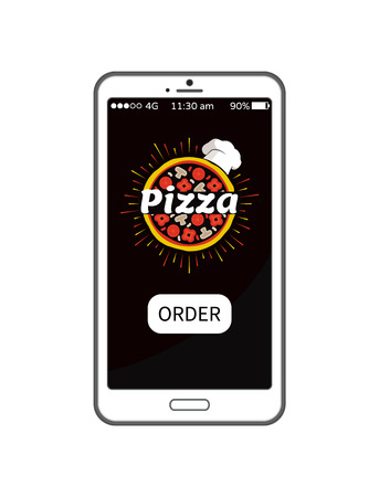 Pizza order application in modern device banner, colorful vector illustration isolated on white gadget with useful app for food booking and delivery
