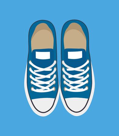 Paar lässige Turnschuhe einzeln auf blauer Hintergrundvektorillustration, neue Schuhe mit weißen dekorativen Elementen und Schnüren, modernes Schuhmuster
