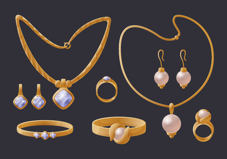 Golden jewelry collection expensive accessories, isolated on black necklaces with gem and pearl, various rings with precious stones sparkle diamonds Illustration