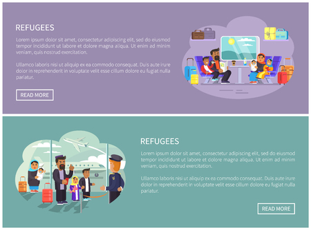 Refugee Arabian families Internet promo posters set. people who need shelter in foreign country informative web page templates vector illustrations. Vettoriali