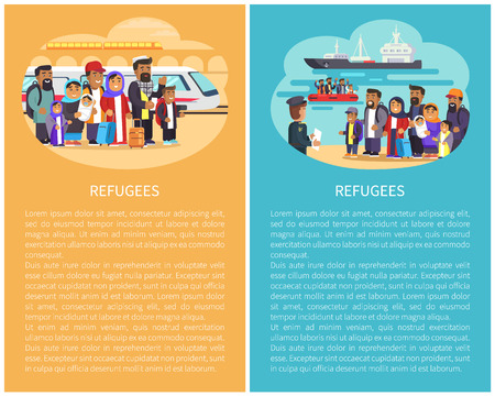 Refugee people at railway station, full of hopes and ready to migrate, ships boats transportation by sea, posters collection, vector illustration