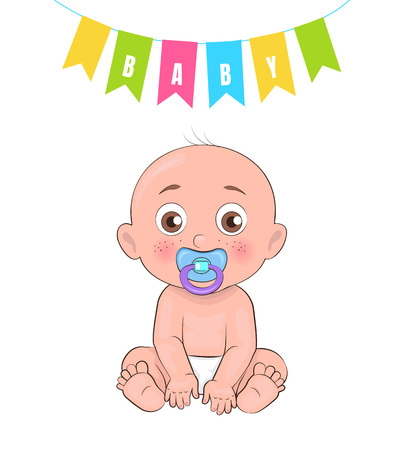 Baby boy poster newborn infant with pacifier in mouth, bold male and decorative flags above him, vector illustration of toddler in diapers isolated