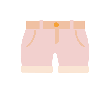 Baby clothes, shorts of pink color, children fashion and mode, object for kids wearing, belt on item, vector illustration isolated on white background