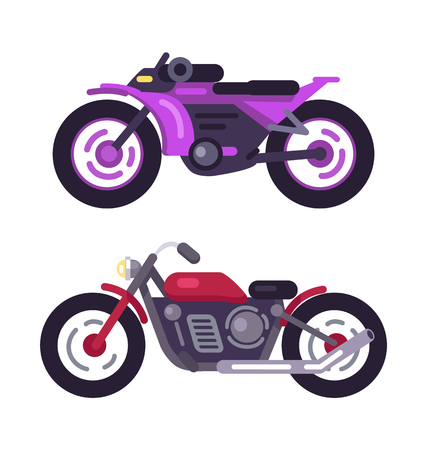 Classical bikes isolated on white background icons vector illustrations of sport vehicles with two wheels, powerful motors, colorful motorbikes set