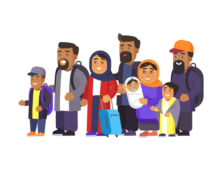 Travelers in good mood set, people standing with personal belongings looking in distance, waiting for their turn, muslims group vector illustration