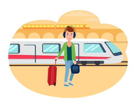 Young refugee guy with baggage at railway station. Male immigrant ready to leave on fast train towards other country isolated vector illustration. Illustration