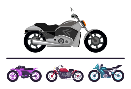 Modern bike design grey scooter and set motorbikes of different purple red and blue color, motorcycles models of fashionable style, street racer vehicles