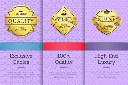 Set golden labels on posters with text sample. Exclusive choice 100 quality high end luxury product collection vector illustrations on purple background Illustration