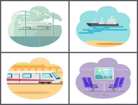 Boat and Airplane Collection Vector Illustration