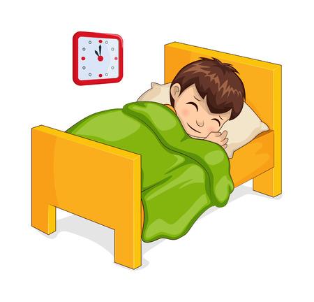 Niño durmiendo en la cama hecha de material de madera, habitación del reloj infantil que muestra el tiempo y el niño debajo de la manta con cara tranquila aislada en la ilustración vectorial Ilustración de vector