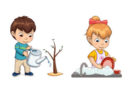 Junge wässert Baumsprossen mit Gießkanne und Mädchen wäscht Geschirr in der Spüle. Kinder helfen Eltern, Hausarbeiten zu erledigen, isolierte Vektorillustrationen.